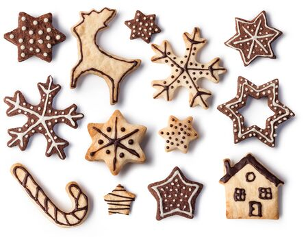 christmas isolated: Christmas Ginger and Honey cookies on isolated white background