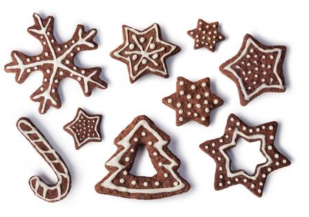 galletas de jengibre: Jengibre Navidad y miel galletas en el fondo blanco aislado