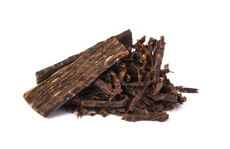 tobacco plant: dried smoking tobacco. Isolated on a white background.