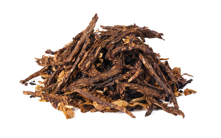 tobacco: dried smoking tobacco. Isolated on a white background.