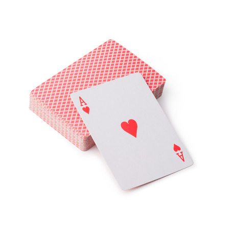 jugando: jugando a las cartas sobre fondo blanco Foto de archivo