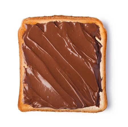 sandwich spread: Chocolate cream on a slice of Toast. Isolated on a white background