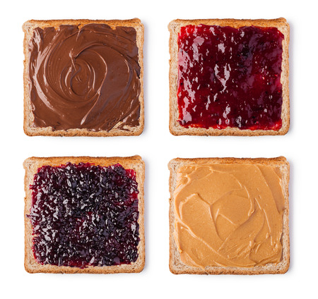 peanut: Toast with Chocolate, butter peanut and jam. Isolated on a white background