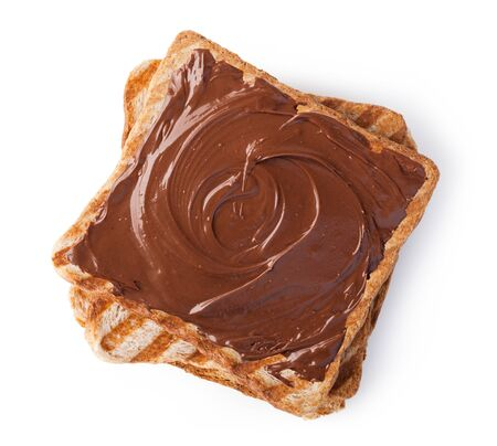 nutella: Chocolate cream on a slice of Toast. Isolated on a white background