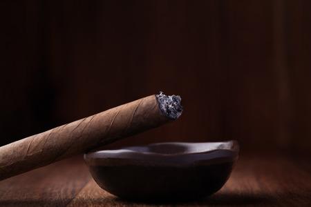 ash: Cuban cigar in ash tray Stock Photo