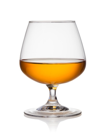 objects drink: cognac on a white background