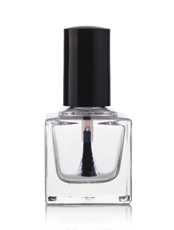 Clear transparent nail polish on white background