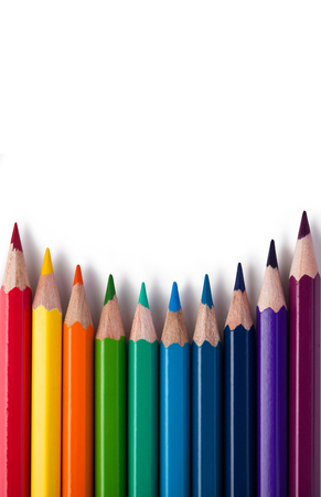 white colour: Colour pencils isolated on white background