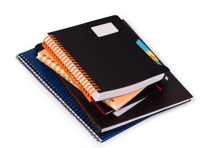 notebook: Notebook on white background Stock Photo