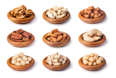 pecans: Nuts collection isolated on a white background Stock Photo