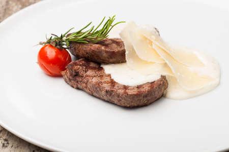 fillet steak: grilled fillet steak on an plate Stock Photo
