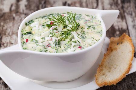 cold soup: Cold soup okroshka Stock Photo