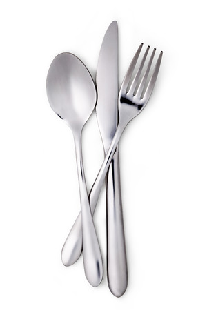 background settings: Fork, spoon and knife isolated on white background Stock Photo