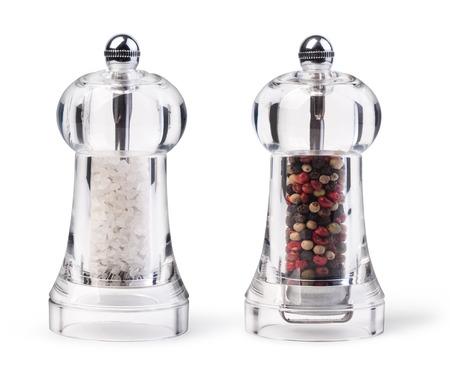 Zout- en Pepper Grinders geïsoleerd op wit Stockfoto