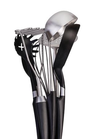set of stainless steel kitchenware Stock Photo