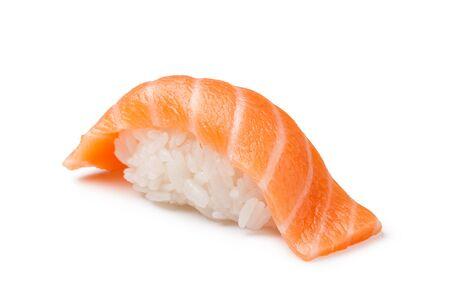 susi: Salmon sushi on a White background
