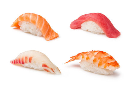 nigiri: Nigiri Sushi set on a white background