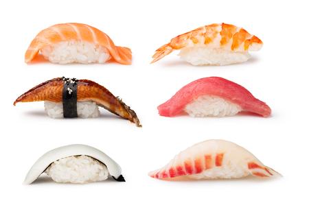 calamar: Nigiri Sushi fijado en un fondo blanco Foto de archivo