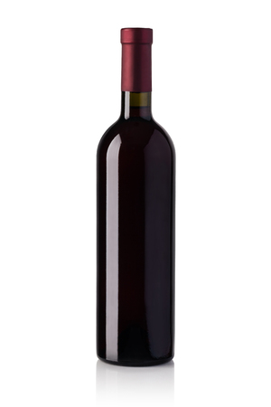 objects drink: red wine bottle isolated over white background
