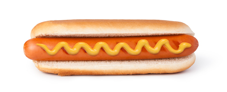 Hot dog with mustard isolated on white background Reklamní fotografie