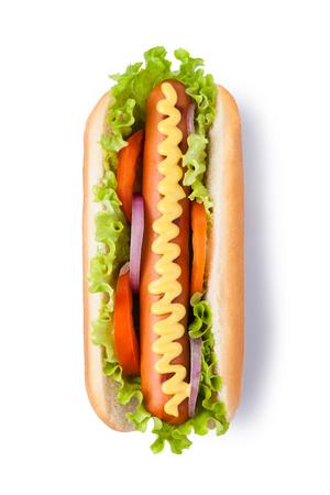 dog isolated: Hot dog with mustard isolated on white background