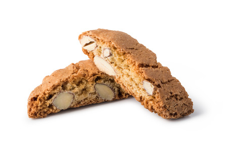 crumbly: cantuccini cookies on white background Stock Photo