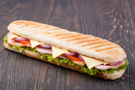 sandwich on a wooden Stock Photo