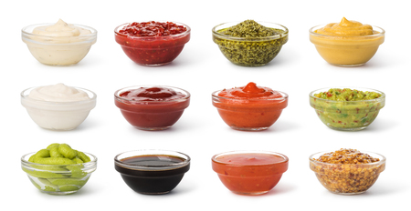 Bowl with sauce set isolated on white background Stock Photo