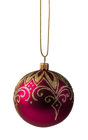 red christmas ball, isolated on white background Stok Fotoğraf