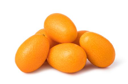 ripe kumquat fruit on white background
