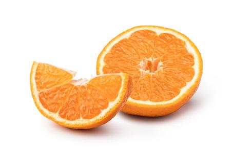Ripe mandarin isolated on white background Stock Photo