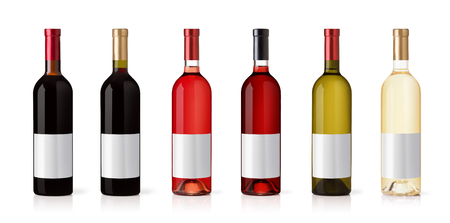 Set of white, rose, and red wine bottles. isolated on white background Banque d'images