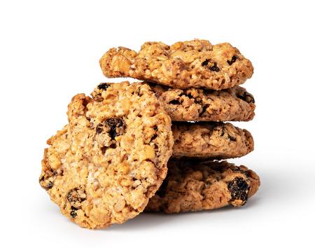 Biscuits à l'avoine sur fond blanc