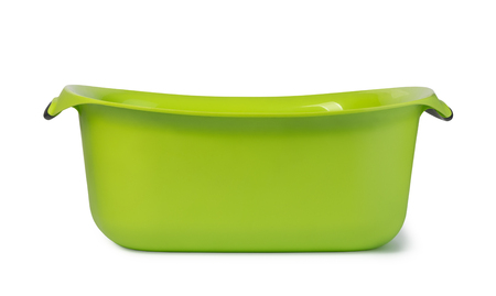 Green plastic wash bowl.