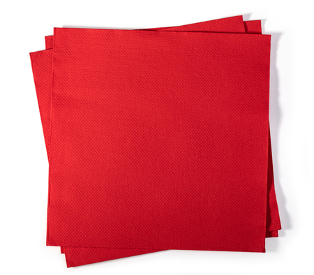 Red paper napkin isolated on white