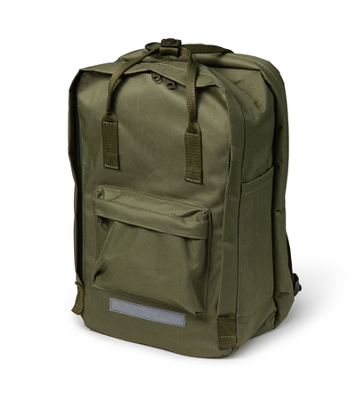 green backpack, isolated over white.