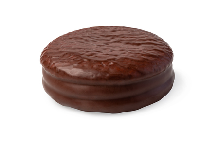 Choco pie chocolate biscuits isolated on white.