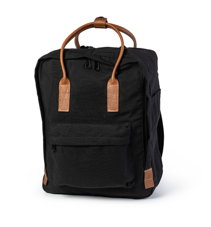 black backpack on a white background Stockfoto