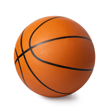basketbal bal geïsoleerd op wit Stockfoto