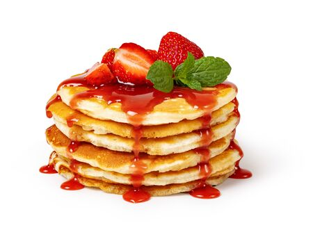 Pancakes with fresh strawberries and syrup Isolated on white background 写真素材