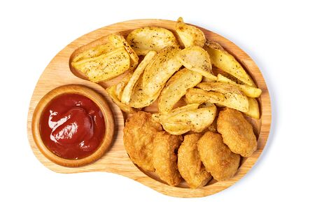 Tasty fried nuggets and potatoes isolated on white background Imagens