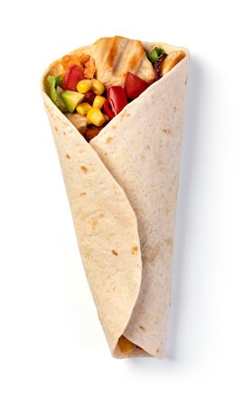 burrito with vegetables and tortilla, isolated on white