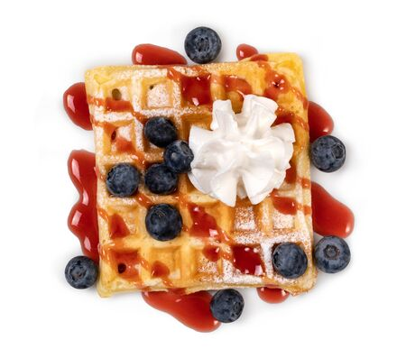 viennese waffles with strawberry and sweet syrup isolated on white background