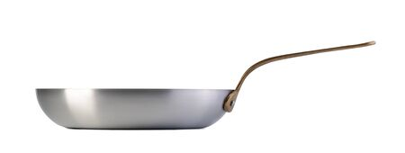 Steel frying pan isolated on white background