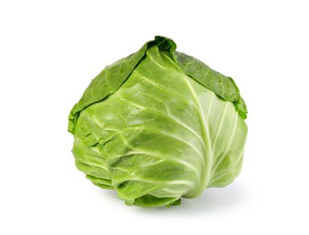 green cabbage isolated on white background Banco de Imagens