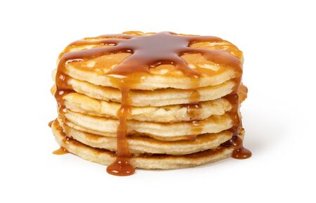 Pancakes with syrup on a white background