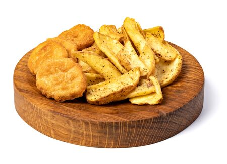 Tasty fried nuggets and potatoes isolated on white background Stock fotó