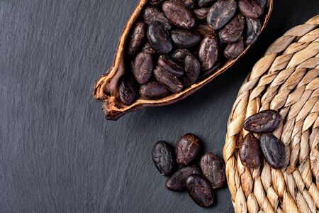 Cocoa Pod And Beans on a table