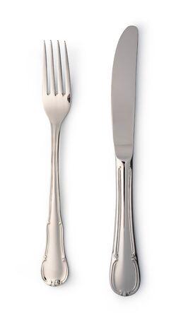 Bestekset met vork en mes geïsoleerd op wit
