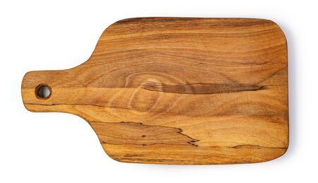 Tabla de cortar de madera aislada en blanco